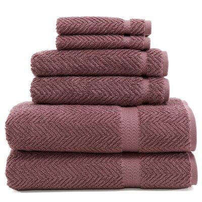 Herringbone 6 Piece Towel Set Color: Sugar Plum