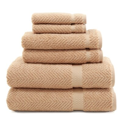 Herringbone 6 Piece Towel Set Color: Warm Sand