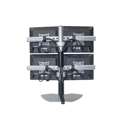 Height Adjustable 4 Screen Desk Mount Model: KTP320, Finish: Silver
