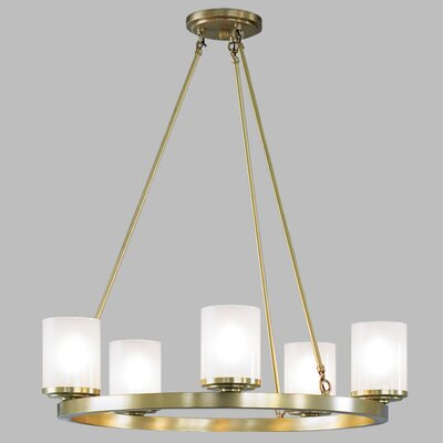 Drake 5-Light Shaded Chandelier Finish: Polished Brass
