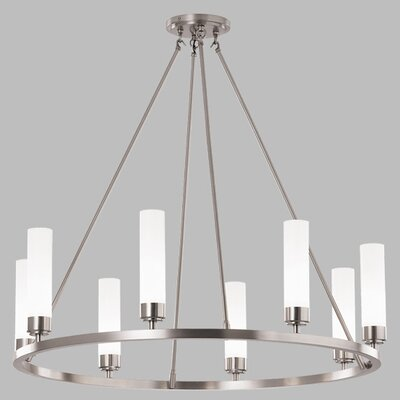 Poehlmann 8-Light Shaded Chandelier Shade Color: Shiny Opal Glass, Finish: Brushed Nickel, Bulb Type: Halogen