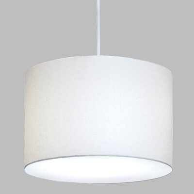 Drum Pendant with White Cord Finish Frame / Bulb Type: Brushed Nickel / Fluorescent, Shade Color: Cream Shade