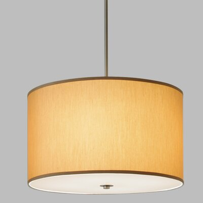 Drum Pendant with White Cord Finish Frame / Bulb Type: Brushed Nickel / Incandescent, Shade Color: Gold Shade