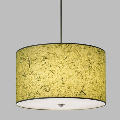 Drum Pendant with White Cord Finish Frame / Bulb Type: Brushed Nickel / Fluorescent, Shade Color: Olive Green Shade
