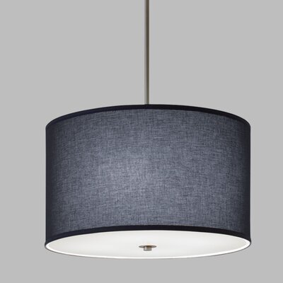 Drum Pendant with White Cord Finish Frame / Bulb Type: Polished Nickel / Fluorescent, Shade Color: Lenroe Navy Shade