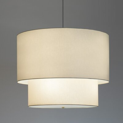Double Drum Pendant Bulb Type: Fluorescent, Finish: Brushed Nickel, Size: 48