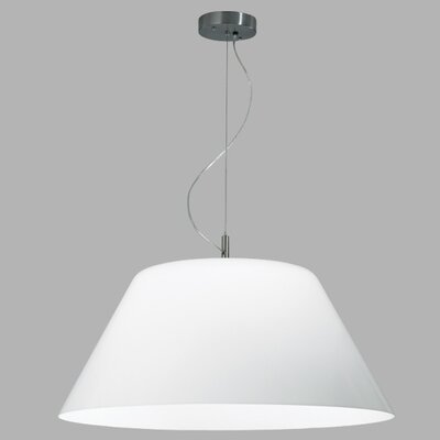 Big Shade Pendant Finish Frame / Bulb Type: Polished Nickel / Fluorescent, Mounting: White Aircraft Cable