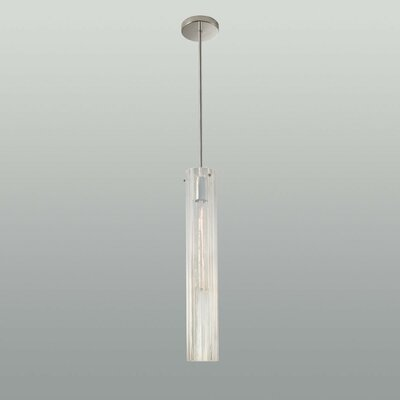 Libro 1-Light Glass Pendant in Opaline & Polished Nickel