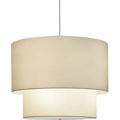Double Drum Pendant Bulb Type: Fluorescent, Finish: Polished Brass, Size: 48