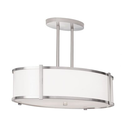 Hatbox Oval Drum Pendant with Double Stem Finish: Polished Nickel