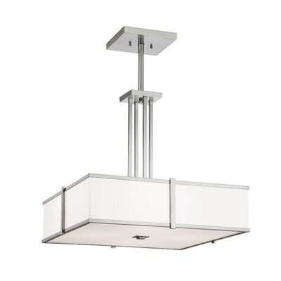 Hatbox Square Pendant with Quad Stem Finish: Polished Nickel, Bulb Type: Fluorescent