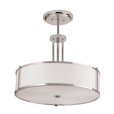 Hatbox Round Pendant Bulb Type: Fluorescent, Finish: Polished Nickel, Size: 30