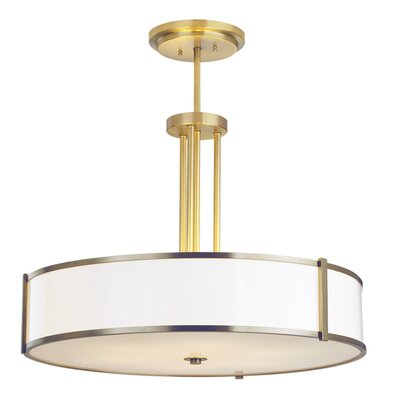 Hatbox Round Pendant Bulb Type: Fluorescent, Finish: Brushed Nickel, Size: 30
