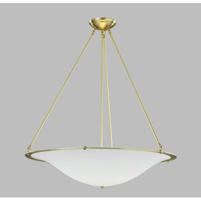 Diva Grande Pendant with Triple Rod Finish Frame: Polished Brass, Bulb Type: Fluorescent