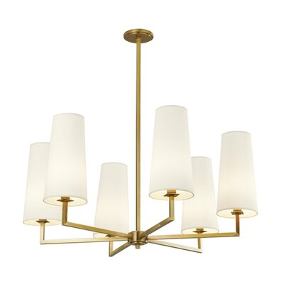 Temple 6-Light Shaded Chandelier Finish: Satin Brass