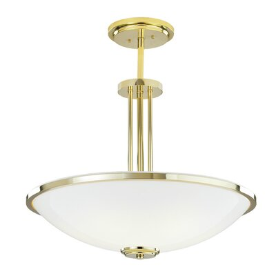 Manchester Bowl Pendant Size: 24, Bulb Type / Finish Frame: Incandescent / Polished Brass