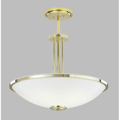 Manchester Bowl Pendant with Single Stem Finish: Polished Brass, Size: 30