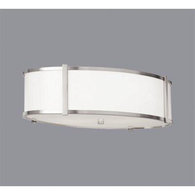 Hatbox Oval Flush Mount Shade Color: Textured Cream Material, Finish / Size: Brushed Nickel / 16