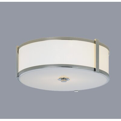Hatbox 16 Round Flush Mount Shade Color: Burlap White Material, Finish: Brushed Nickel, Size: 6 H x 16 W x 16 D