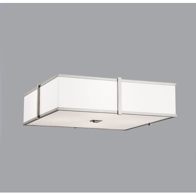 Hatbox 16 Square Flush Mount Shade Color: Textured White Material, Finish: Polished Brass, Size: 24 H x 24 W x 24 D