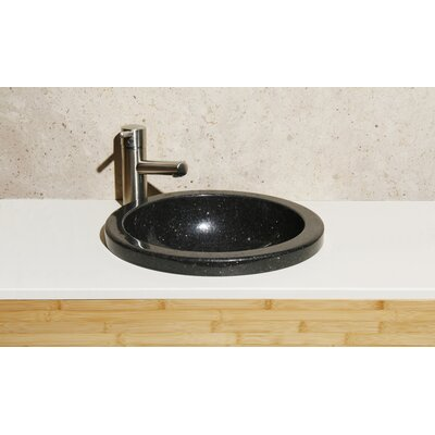 Stone Circular Drop-In Bathroom Sink Sink Finish: Black Galaxy Granite/ High Sheen Polish