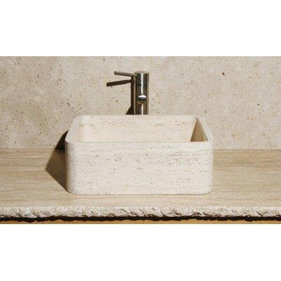 Rectangular Vessel Bathroom Sink Sink Finish: White Sands Travertine