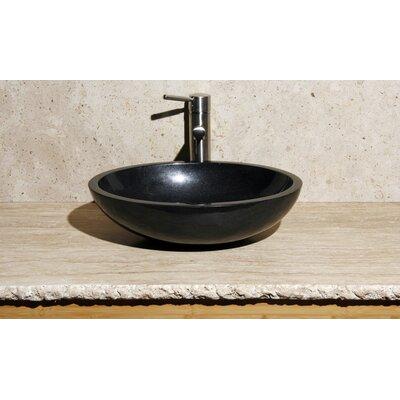 Stone Oval Vessel Bathroom Sink Sink Finish: Black Granite