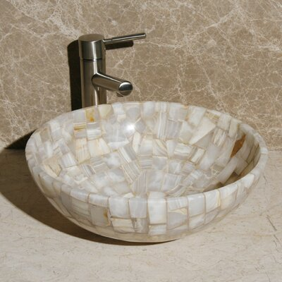 Stone Circular Vessel Bathroom Sink Sink Finish: White