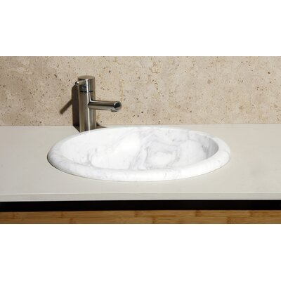 Volakas Stone Oval Drop-In Bathroom Sink