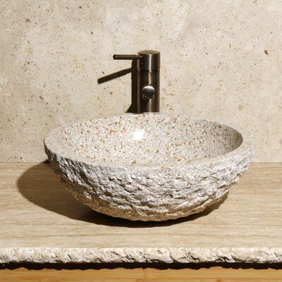Stone Circular Vessel Bathroom Sink Sink Finish: Desert Yellow Granite / High Sheen Polish