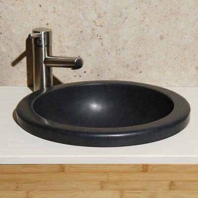 Lime Stone Circular Drop-In Bathroom Sink