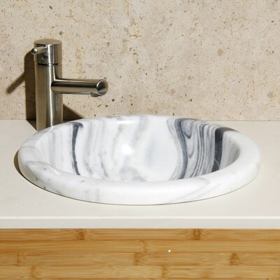 New Zebra Stone Circular Drop-In Bathroom Sink