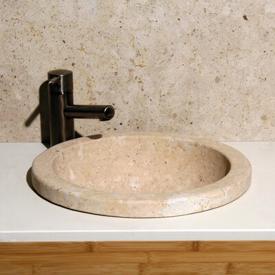 Sahara Lime Stone Circular Drop-In Bathroom Sink