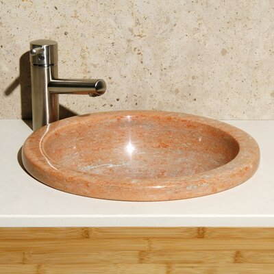 Sunset Mist Stone Circular Drop-In Bathroom Sink