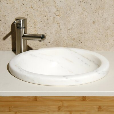 Volakas Stone Circular Drop-In Bathroom Sink