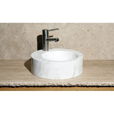 Stone Circular Vessel Bathroom Sink Sink Finish: Volakas