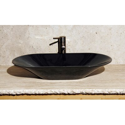 Oval Vessel Bathroom Sink Sink Finish: Black Granite