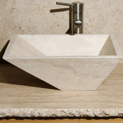 Stone Rectangular Vessel Bathroom Sink Sink Finish: White Sands