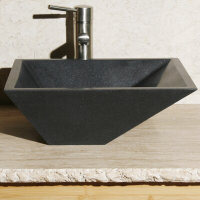 Rectangular Vessel Bathroom Sink Sink Finish: Black Granite