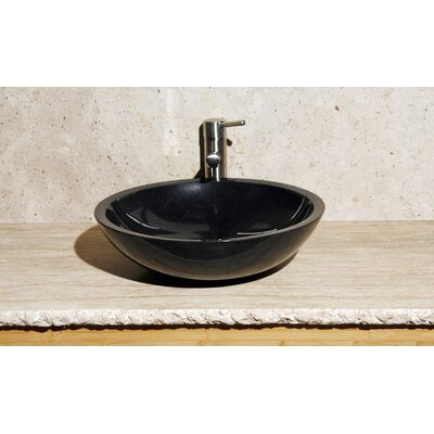 Stone Circular Vessel Bathroom Sink Sink Finish: Black Granite / High Sheen Polish