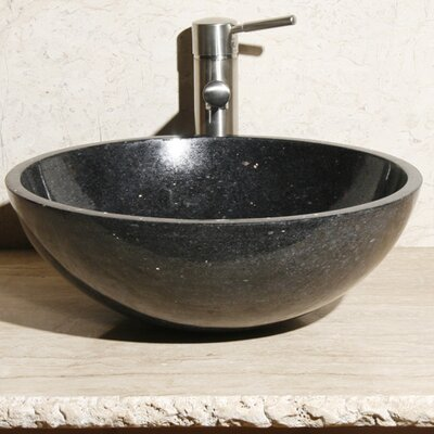 Stone Circular Vessel Bathroom Sink Sink Finish: Black Galaxy