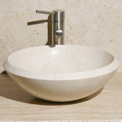 Stone Circular Vessel Bathroom Sink Sink Finish: Creama Marfil