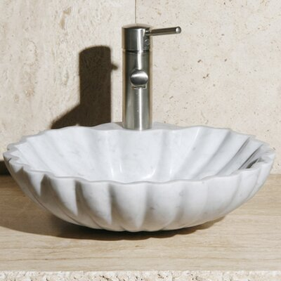 Stone Circular Vessel Bathroom Sink Sink Finish: Carrara White