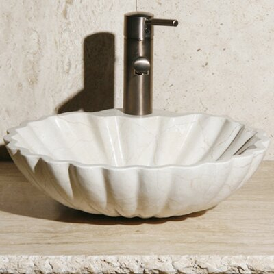 Stone Circular Vessel Bathroom Sink Sink Finish: Creama Marfil