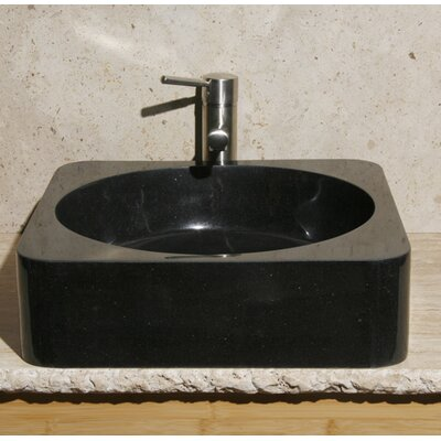Square Vessel Bathroom Sink Sink Finish: Black Granite