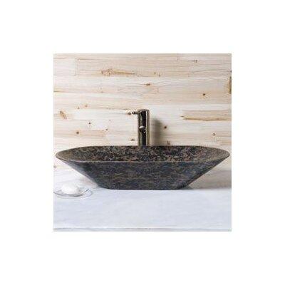 Stone Oval Vessel Bathroom Sink Sink Finish: Tan Brown Granite