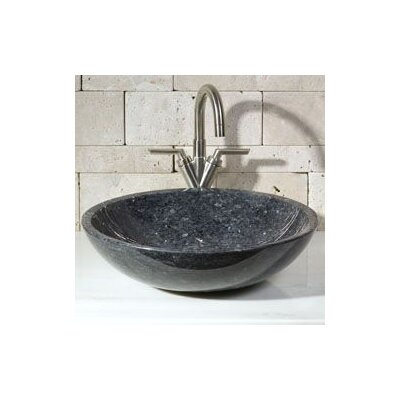 Stone Circular Vessel Bathroom Sink Sink Finish: Blue Pearl Granite / High Sheen Polish