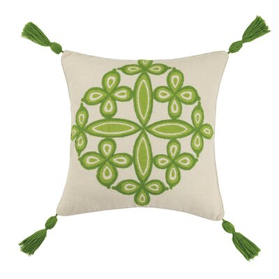 Desert Medallion Linen Throw Pillow Color: Green