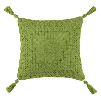 Portola Needlepoint Linen Throw Pillow Color: Green