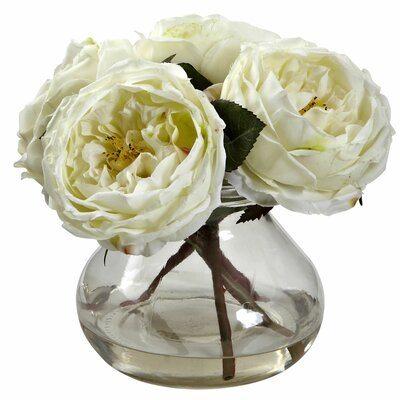 Fancy Rose with Vase Color: White